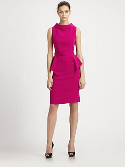 Teri Jon - Roll-Neck Peplum Dress