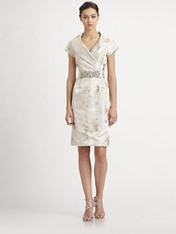 Teri Jon - Shawl Collar Jacquard Dress
