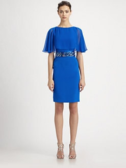 Teri Jon - Chiffon Cape Overlay Dress