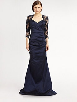 Teri Jon - Lace-Trimmed Taffeta Gown