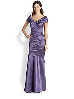 Teri Jon - Stretch-Taffeta Brooch-Detail Gown