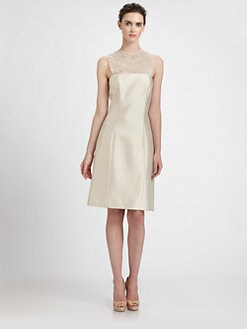 Teri Jon - Lace Yoke Silk Gazar Dress