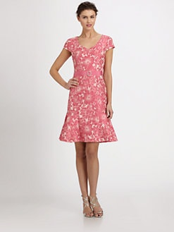 Teri Jon - Belted Floral-Print Dress