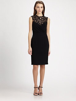 Teri Jon - Lace-Trimmed Crepe Dress