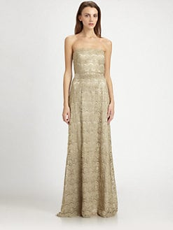 Teri Jon - Strapless Metallic Lace Gown