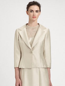 Teri Jon - One-Button Silk Gazar Jacket