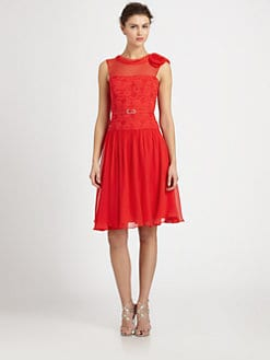 Teri Jon - Silk Chiffon Belted Lace-Bodice Dress