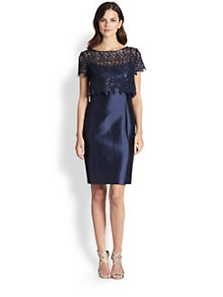 Teri Jon - Gazar Lace Popover Dress