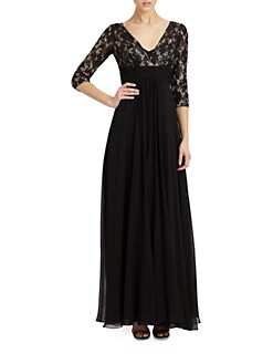 Teri Jon - Lace-Top Silk Chiffon Gown