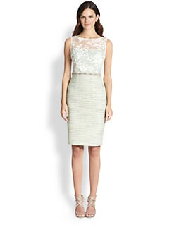 Teri Jon - Lace/Tweed Beaded-Waist Dress