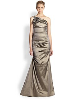 Teri Jon - One-Shoulder Taffeta Gown