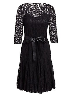 Teri Jon - Lace Pintuck Dress