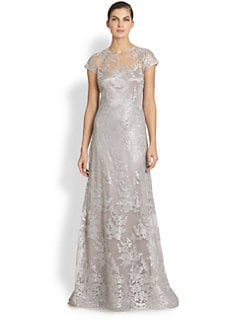 Teri Jon - Metallic Embroidered-Lace Gown