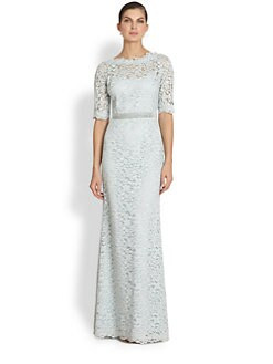 Teri Jon - Beaded-Detail Lace Gown