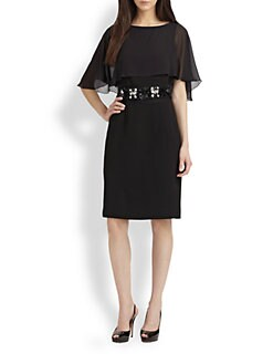 Teri Jon - Chiffon Overlay Dress