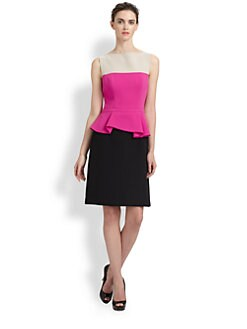 Teri Jon - Colorblock Peplum Dress