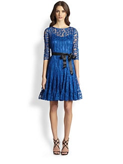 Teri Jon - Pintucked Lace Cocktail Dress