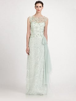 Teri Jon - Tulle Overlay Lace Gown