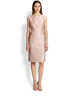 Teri Jon - Mock Two-Piece Jacquard Dress