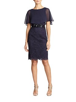 Teri Jon - Cape Lace Dress