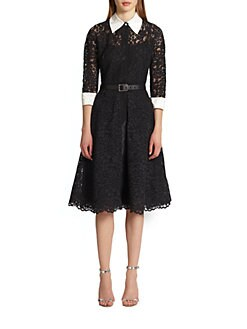 Teri Jon - Lace Contrast Shirtdress