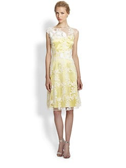 Teri Jon - Floral Embroidered Tulle Dress