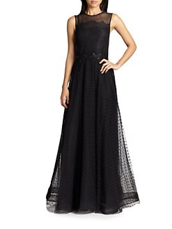 Teri Jon - Illusion Lace-Bodice Gown
