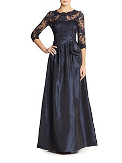 Teri Jon - Embroidered Illusion Gown