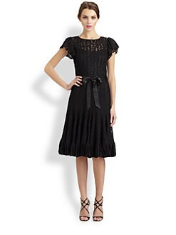Teri Jon - Flutter-Sleeve Lace Dress