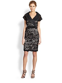 Teri Jon - Lace Shawl Collar Dress