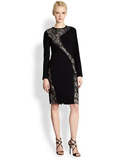 Teri Jon - Lace-Accent Cocktail Dress