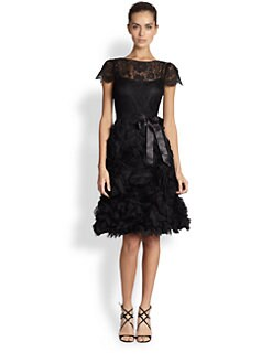 Teri Jon - Silk Soutache and Lace Dress