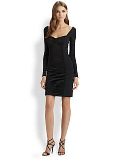 Teri Jon - Ruched Long-Sleeve Dress