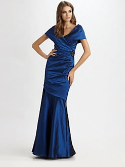 Teri Jon - Off-the-Shoulder Satin Gown