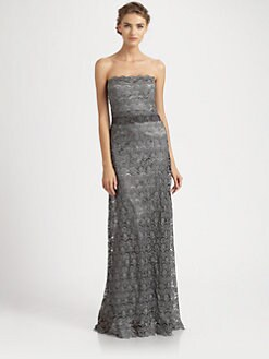 Teri Jon - Strapless Lace Gown