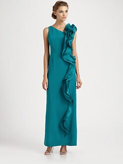 Teri Jon - Silk Ruffle Gown