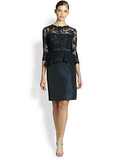 Teri Jon - Sequined Lace & Taffeta Dress