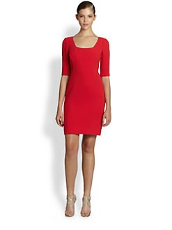 Teri Jon - Square-Neck Crepe Dress