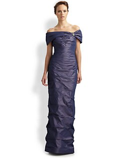 Teri Jon - Taffeta Pleat Gown