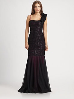 Teri Jon - Sequined Lace Gown
