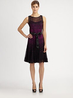 Teri Jon - Chiffon Polka Dot Dress
