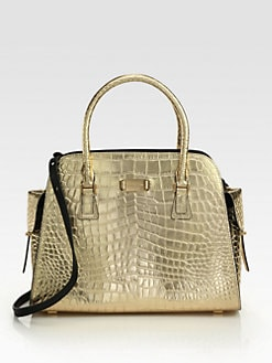 Michael Kors - Gia Metallic Crocodile Embossed Leather Satchel