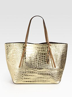 Michael Kors - EW Metallic Crocodile Embossed Leather Tote