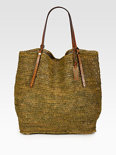 Crocheted Raffia North South Tote