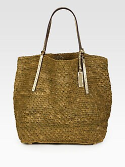 Michael Kors - Metallic Crocheted Raffia North South Tote