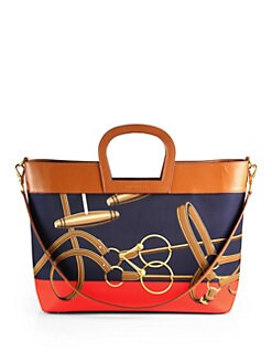 Ralph Lauren Collection - Horseshoe Printed Twill & Leather Tote