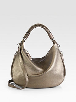Michael Kors - Tonne Python-Trimmed Metallic Leather Hobo