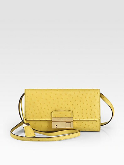 Gia Ostrich-Embossed Leather Clutch