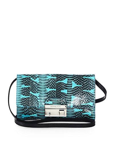 Gia Snake-Embossed Leather Clutch