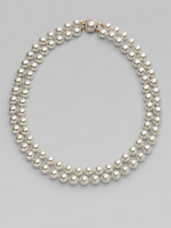 Majorica - 10MM White Round Pearl Two-Row Necklace/18